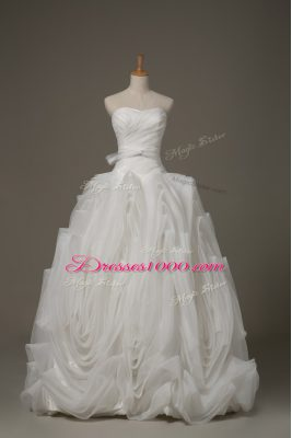 Graceful Sleeveless Belt Lace Up Wedding Gown with White Brush Train