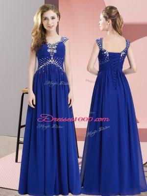 Modest Royal Blue Sleeveless Floor Length Beading Lace Up Homecoming Dress