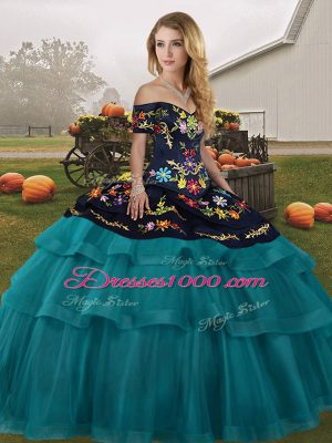 Fantastic Teal Sweet 16 Dresses Off The Shoulder Sleeveless Brush Train Lace Up