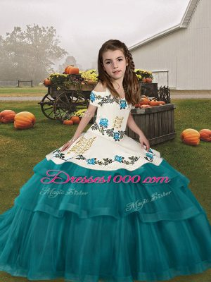 Classical Straps Sleeveless Lace Up Teens Party Dress Teal Tulle