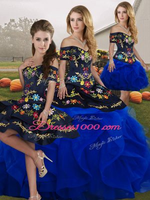 Blue And Black Sleeveless Tulle Lace Up Quinceanera Dress for Military Ball and Sweet 16 and Quinceanera