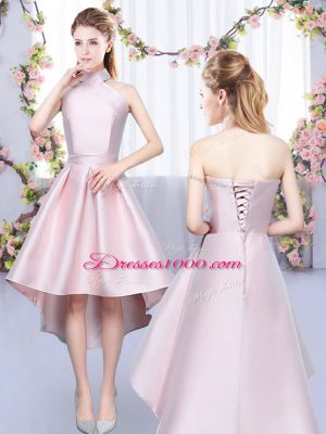 High Low Baby Pink Quinceanera Dama Dress Satin Sleeveless Ruching