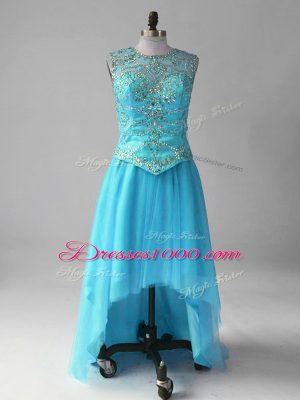 Wonderful Beading Going Out Dresses Aqua Blue Lace Up Sleeveless High Low