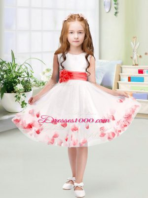 White Toddler Flower Girl Dress Wedding Party with Appliques and Belt Scoop Sleeveless Zipper