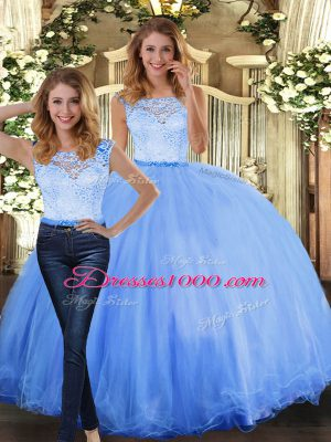Sleeveless Tulle Floor Length Clasp Handle Quince Ball Gowns in Blue with Lace