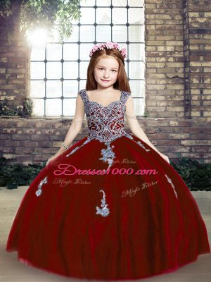 Most Popular Straps Sleeveless Girls Pageant Dresses Floor Length Appliques Red Tulle