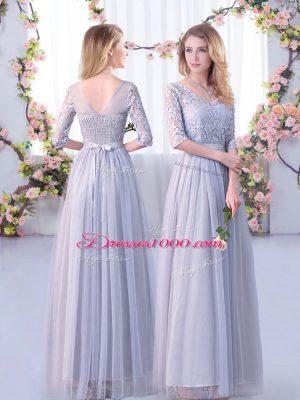 Floor Length Empire Half Sleeves Grey Quinceanera Court Dresses Side Zipper