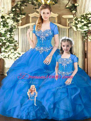 Glittering Floor Length Blue Sweet 16 Quinceanera Dress Sweetheart Sleeveless Lace Up
