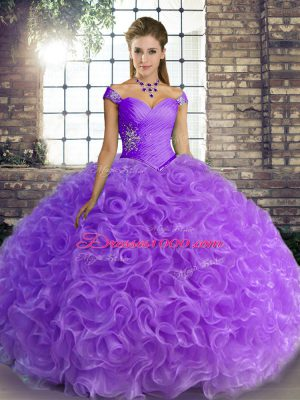 Fashion Fabric With Rolling Flowers Sleeveless Floor Length Sweet 16 Dress and Beading