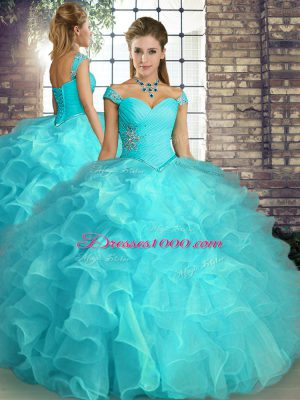 Floor Length Lace Up Ball Gown Prom Dress Aqua Blue for Military Ball and Sweet 16 and Quinceanera with Beading and Ruffles