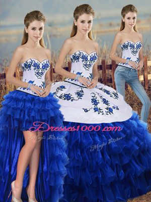 Best Selling Royal Blue Sleeveless Organza Lace Up Quince Ball Gowns for Military Ball and Sweet 16 and Quinceanera