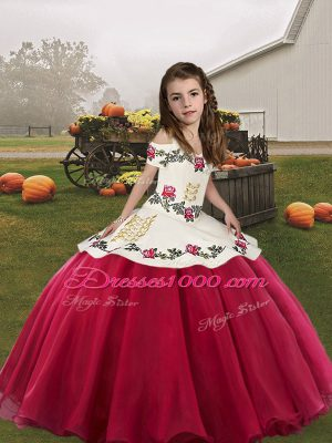 Coral Red Sleeveless Organza Lace Up Little Girls Pageant Gowns for Party and Wedding Party