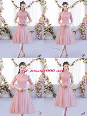 Tulle High-neck Cap Sleeves Zipper Lace Wedding Party Dress in Pink