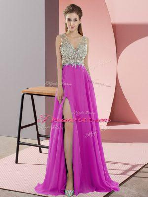 Extravagant Fuchsia Zipper V-neck Beading Prom Evening Gown Chiffon Sleeveless Sweep Train