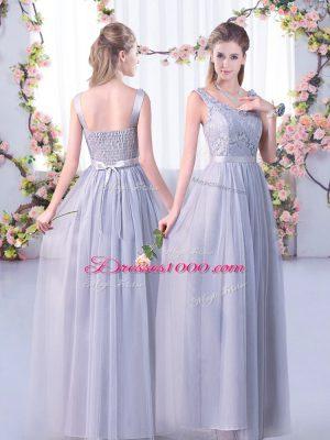 Grey Vestidos de Damas Wedding Party with Lace and Belt V-neck Sleeveless Side Zipper