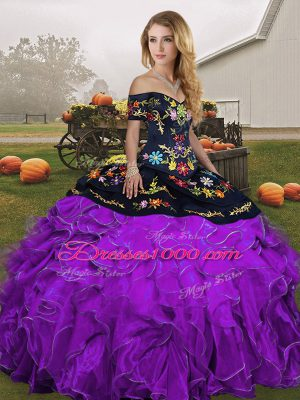 Popular Off The Shoulder Sleeveless Quinceanera Dress Floor Length Embroidery and Ruffles Black And Purple Organza