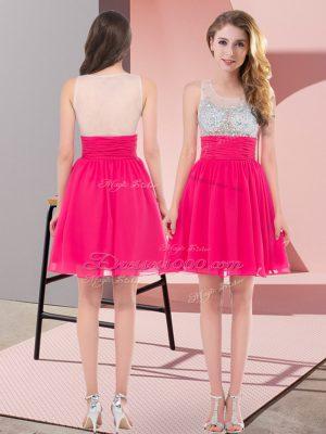 Excellent Hot Pink Chiffon Side Zipper Damas Dress Sleeveless Mini Length Beading
