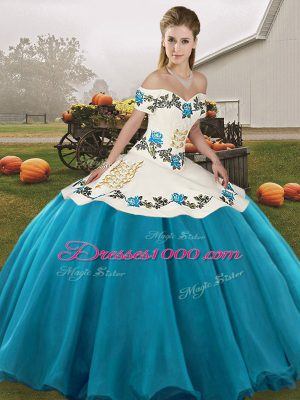 Embroidery Quinceanera Dresses Blue And White Lace Up Sleeveless Floor Length