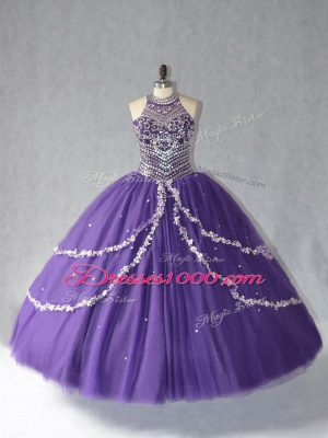 Modest Purple Quinceanera Gowns Sweet 16 and Quinceanera with Beading Halter Top Sleeveless Lace Up