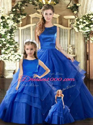 Scoop Sleeveless Lace Up Quinceanera Dress Royal Blue Tulle