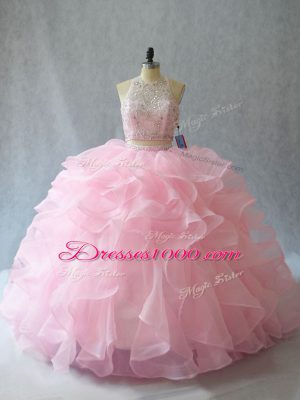 Modest Baby Pink Backless Halter Top Beading and Ruffles Quinceanera Gown Organza Sleeveless Brush Train