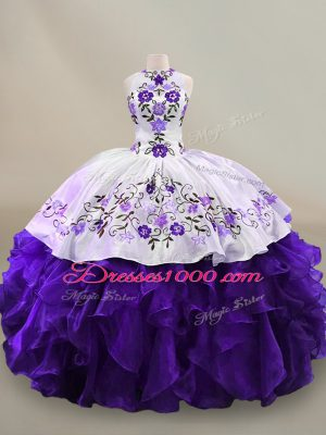 Long Sleeves Floor Length Embroidery and Ruffles Lace Up Quinceanera Dresses with White And Purple
