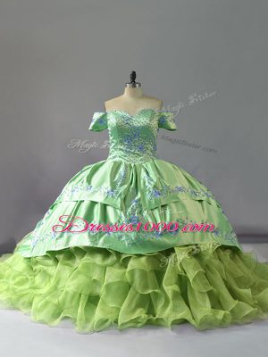 Yellow Green Quinceanera Gown Off The Shoulder Sleeveless Chapel Train Lace Up