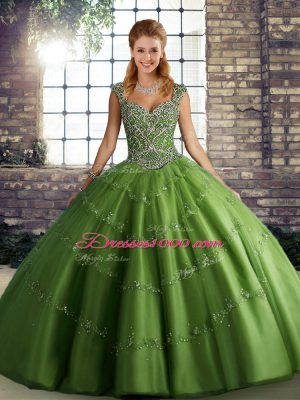 Fashion Straps Sleeveless Tulle 15th Birthday Dress Beading and Appliques Lace Up