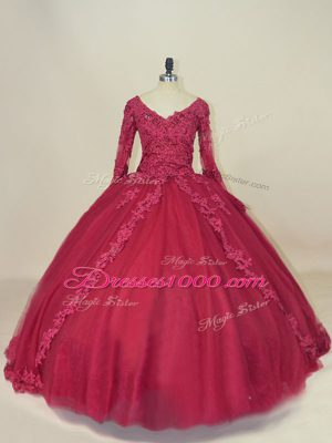 Top Selling Tulle V-neck Long Sleeves Lace Up Lace and Appliques Ball Gown Prom Dress in Red