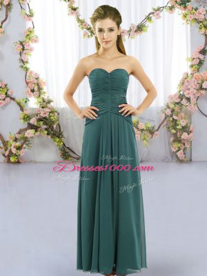 Hot Sale Floor Length Lace Up Vestidos de Damas Peacock Green for Wedding Party with Ruching