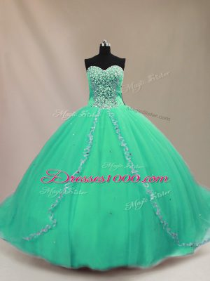 Colorful Turquoise Ball Gowns Sweetheart Sleeveless Tulle Court Train Lace Up Beading Ball Gown Prom Dress