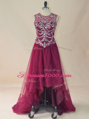 Burgundy Sleeveless High Low Beading and Lace Lace Up Winning Pageant Gowns