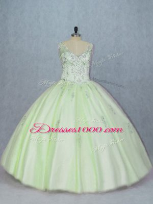 V-neck Sleeveless Quince Ball Gowns Beading Yellow Green Tulle