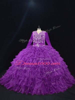 High Class Organza V-neck Long Sleeves Lace Up Beading and Ruffled Layers Quinceanera Dress in Purple