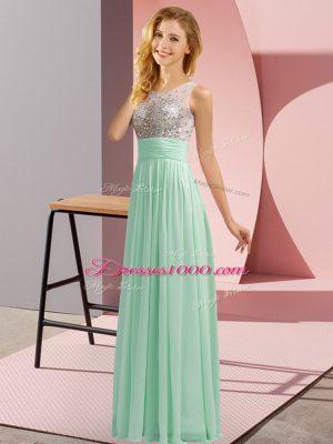 Floor Length Apple Green Bridesmaids Dress Chiffon Sleeveless Beading