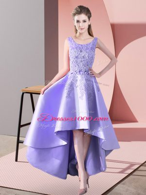 New Style Lavender A-line Lace Court Dresses for Sweet 16 Zipper Satin Sleeveless High Low