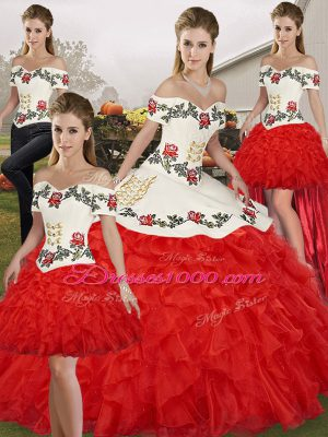 Best White And Red Organza Lace Up Quinceanera Dresses Sleeveless Floor Length Embroidery and Ruffles