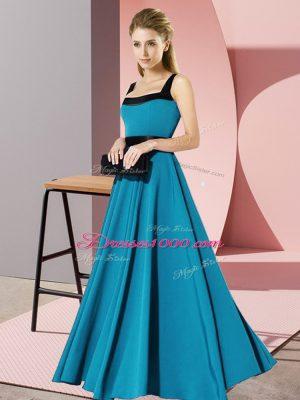 New Style Teal Zipper Dama Dress for Quinceanera Belt Sleeveless Floor Length