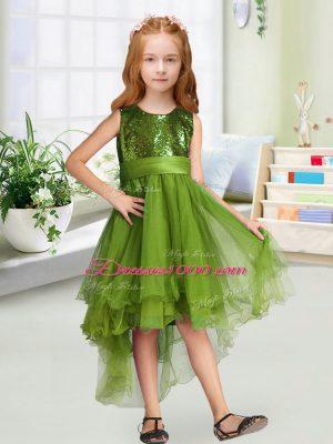 Discount High Low A-line Sleeveless Olive Green Toddler Flower Girl Dress Zipper