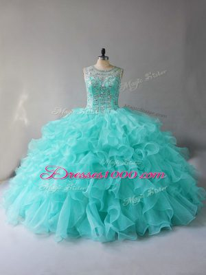 Aqua Blue Ball Gowns Scoop Sleeveless Organza Lace Up Beading and Ruffles 15th Birthday Dress
