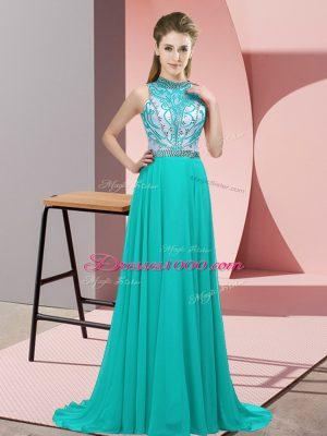 Sleeveless Beading Backless Prom Dress with Turquoise Brush Train