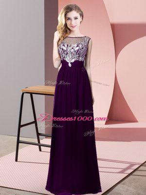 Chiffon Sleeveless Floor Length Womens Party Dresses and Beading