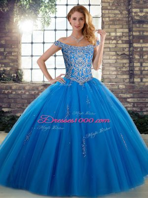 Pretty Blue Off The Shoulder Lace Up Beading Sweet 16 Dress Sleeveless