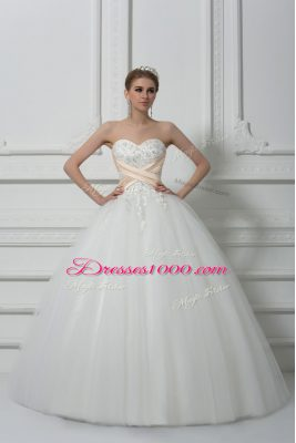 White Wedding Dresses Wedding Party with Beading and Lace Sweetheart Sleeveless Lace Up