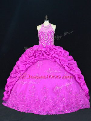 Fuchsia Ball Gowns Halter Top Sleeveless Taffeta Floor Length Lace Up Beading and Appliques and Pick Ups Ball Gown Prom Dress