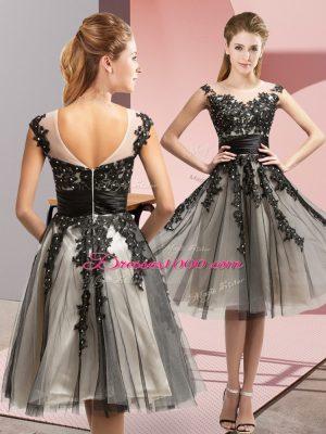 Cheap Sleeveless Zipper Knee Length Beading and Lace Vestidos de Damas