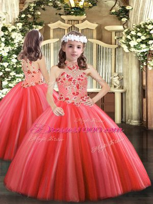 Adorable Halter Top Sleeveless Tulle Pageant Gowns For Girls Appliques Lace Up