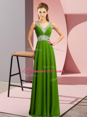 Green Empire V-neck Sleeveless Chiffon Floor Length Lace Up Beading Party Dress