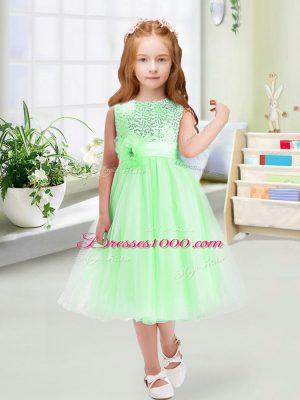 Sleeveless Sequins and Hand Made Flower Zipper Flower Girl Dresses