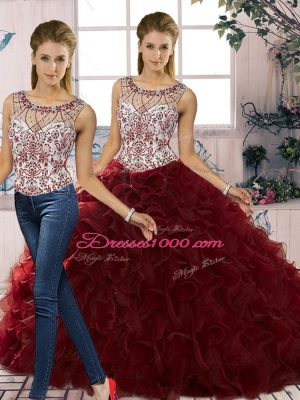 Custom Designed Burgundy Scoop Neckline Beading and Ruffles Quince Ball Gowns Sleeveless Lace Up